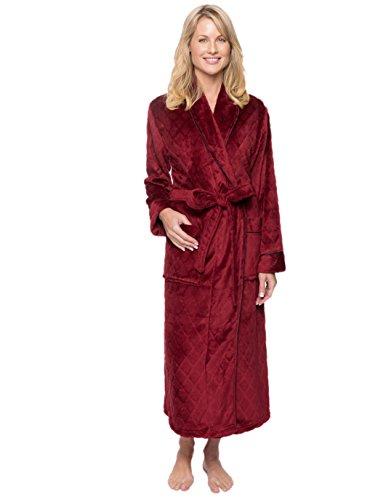 Women's Premium Coral Fleece Plush Spa/Bath Robe - Diamond Red Wine - X-Large (Wine And Spa)