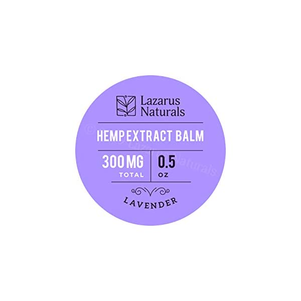 Lazarus Naturals Lavender Hemp Body Balm (.5 oz, 300 mg), All-Natural Salve Infused with Full-Spectrum Hemp Extract, Organic Mango Butter and Lavender Oil for Relaxation and More, Made in the USA