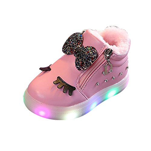 Todaies Children Baby?Girls Bowknot Crystal Led Luminous Boots Sport Sneaker Shoes Pink
