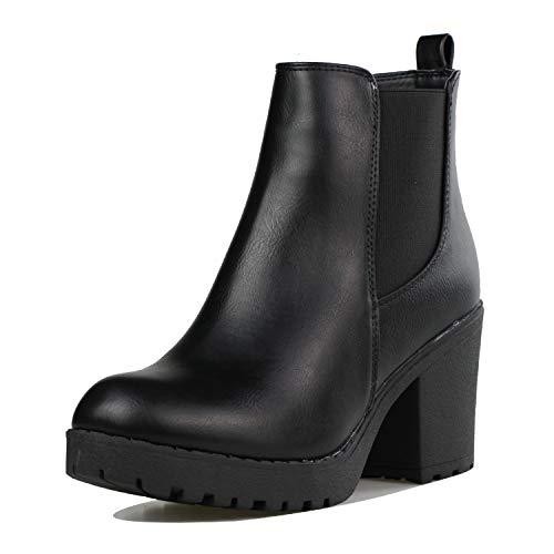 Women's Block Chunky Heel Ankle Booties Slip on Platform Boots Zipper up High Heel Chelsea Boots Black 7 (Dress Up Women Boots)