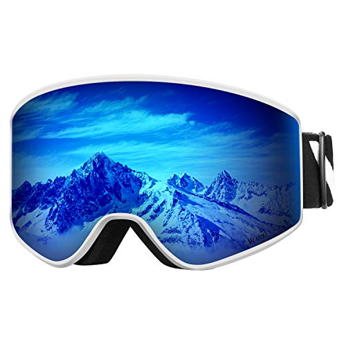 VELAZZIO OTG Ski Goggles, Snowboard Goggles - Double Layer Interchangeable Lens, UV Protection, Anti-Fog, Snow Goggles for Men & Women (White Frame/Grey Lens with REVO Blue Coating (VLT 17%)) (Best Anti Fog Snow Goggles)