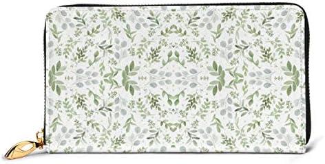 柔らかいユーカリの水彩画の小さな葉のパターン 本革長財布 ファスナー財布 おしゃれ 大容量 男女共用高級おしゃれなジップレザーウォレットロングハンドバッグ