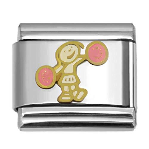 Sports Theme Italian Charms Collection for Modular Italian Charm Bracelets (Cheerleader-541)