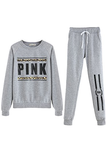 MakeMeChic Women's Letter Print Long Sleeve Sweatshirt Top Pocket Sweat Pant Tracksuit Grey XL