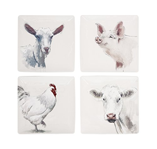 Creative Co-Op DA5237SET Set of 4 Square Stoneware Plates with Farm Animals