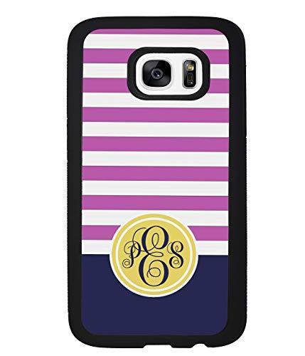 Candy Stripe Pink Bubblegum Royal Blue Gold Golden Personalized Monogram Samsung Black Rubber Phone Case Samsung Galaxy S10, S10 Plus, S10 E, S9, S9 Plus, S8, S8 Plus, S7, S7 ()