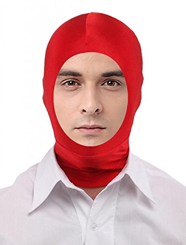 Seeksmile Unisex Lycra Spandex Full Cover Zentai Hood Mask (Adult Size, Red Open-Face)