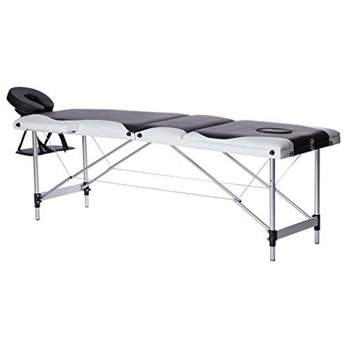 Water-chestnut Portable Folding Massage Table 3 Fold Aluminum Alloy Frame (Black + white)