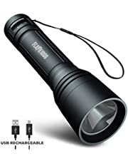 Blazin Micro-USB Rechargeable LED Torch   1000 Lumen Tactical Flashlight with 4 Modes   12 Hour Runtime   325 Yard Visibility   Powerful Waterproof EDC Torch  