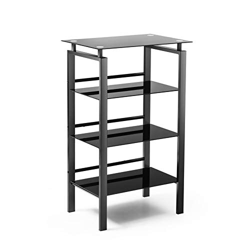 INVIE 4-Tier Media Stand Audio Video Component Cabinet with Glass Shelf Open Shelving Bookcase