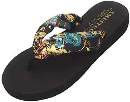 593c705908a9 Women s Bohemian Satin Flip-Flop Thick Sole Summer Beach Casual Slippers