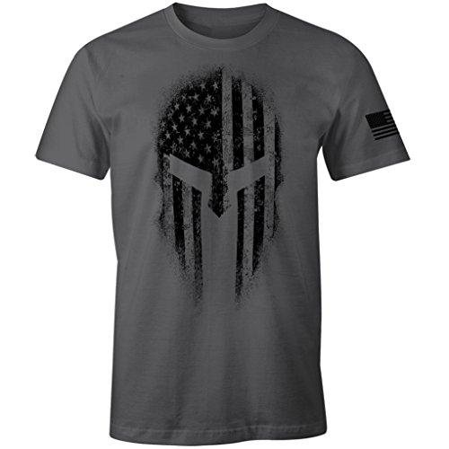 USA American Spartan Molon Labe Patriotic Men's T Shirt (Charcoal, 2XL)