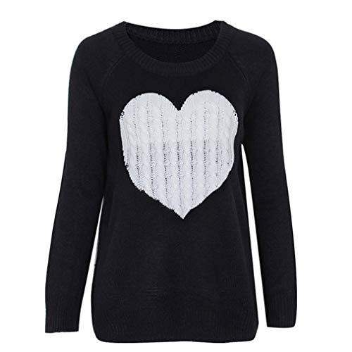 Anxinke Women Long Sleeve Heart-Shaped Printed Pullovers Tops O Neck Casaul Sweaters (S) by Anxinke