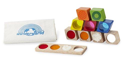 Wonderworld Wonder Sensory Block Toys - Promotes Development of Learning: Vision, Touch, Hearing, Colors, 10 Piece Toy Set ()