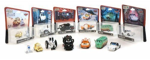 Disney Pixar Cars Star Wars Complete Set (Series 1) Lightning McQueen as Luke Skywalker X-Wing Fighter Pilot, Mater as Darth Vader, Sally as Princess Leia, Luigi & Guido as C-3PO & R2-D2, Tractor as a Stormtrooper , Fillmore as Yoda Disney Park Exclusive Die Cast Cars
