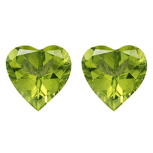 2.65-3.25 Cts of 8 mm AAA Heart Chinese Peridot ( 2 pcs ) Loose Gemstones by Mysticdrop