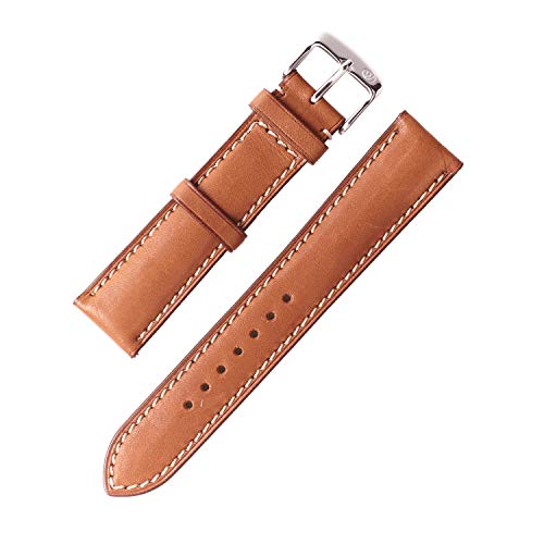 (W&S 2-Piece Premium Leather Watch Strap - Quick Release Band (22mm, Light Brown))