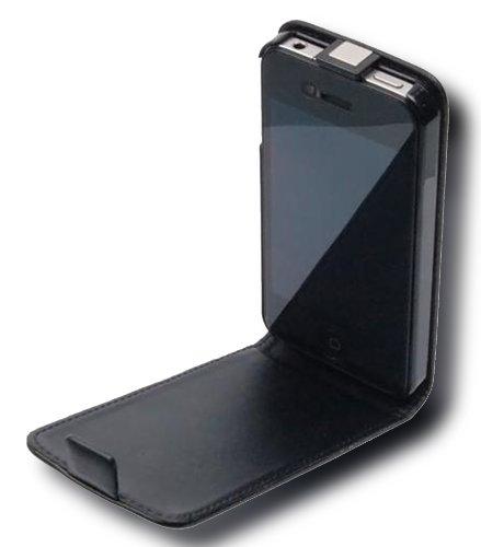 Cadorabo - Funda Flip Style para Apple iPhone 4 / 4S / 4G de Cuero Sintético Liso - Etui Case Cover Carcasa Caja Protección en NEGRO-DE-CAVIAR NEGRO-DE-CAVIAR