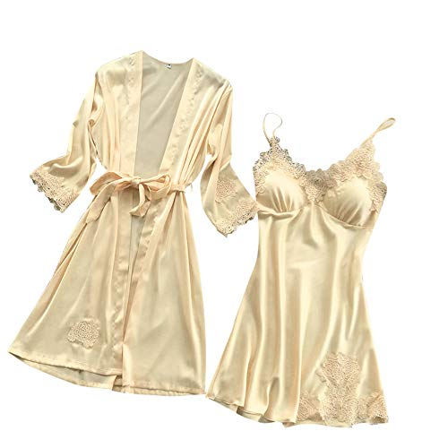 Silk Drawstring Robe (Women's 2 Piece Set Pajamas Silk Lace Robe Dress Sexy Nightdress Kimono Cardigan Sleepwear Beige)