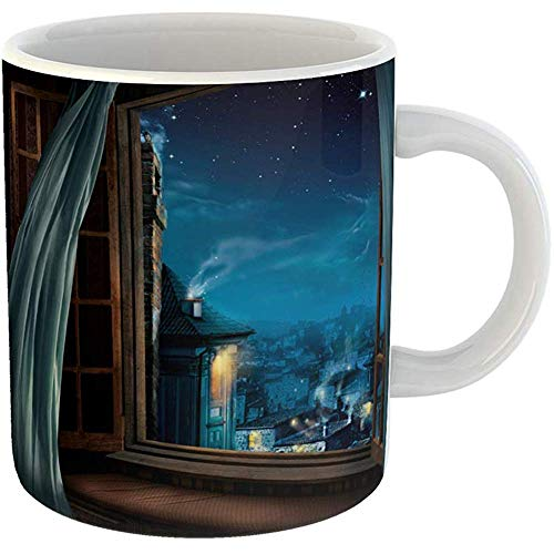 Coffee Tea Mug Gift 11 Ounces Novelty Ceramic Night Magic Window View Old City Fairy Gifts For Family Friends Coworkers Boss Mug
