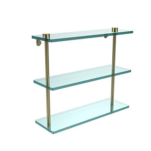 Glass Triple Allied Shelf Brass - Allied Brass NS-5/16-SBR 16 Inch Triple Tiered Glass Shelf, Satin Brass