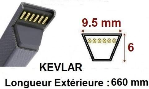 L326-38X260-3L26-6726 Renforc/ée Kevlar Courroie 3L260 Teknic