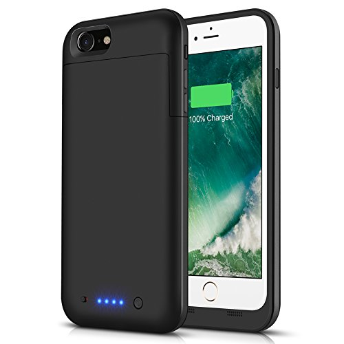 iPhone 6s Plus/6 Plus Battery Case LCLEBM Protective Portable Charging Case 6800 mAh Extened Back Up 200% Extra Supply Charger Case Power Bank (Black)