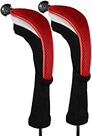 Andux 2pcs/Pack Long Neck Golf Hybrid Club Head Covers with Interchangeable No. Tag CTMT-02