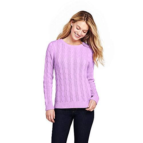 Lands' End Women's Petite Drifter Cotton Cable Knit Sweater Crewneck, M, Pansy
