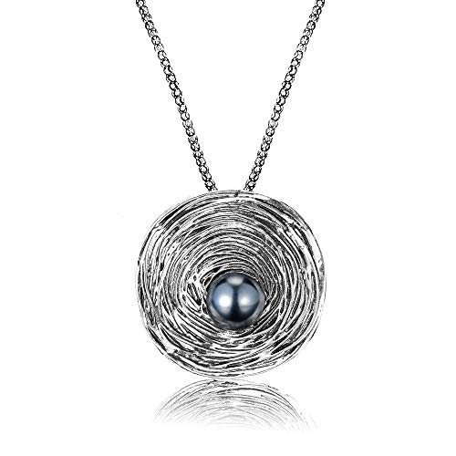 (Mytys Fashion Jewelry Grey Pearl Vintage Round Big Pendant Silver Plated Necklace Brooch for Women Gift,Chain Length 80+5cm Extender with Jewelry Box)