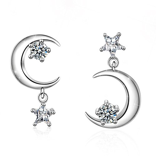 FarryDream 925 Sterling Silver CZ Crystal Star Moon Earrings for Women Teen Girls Sparkling Asymmetric Earrings (Star Moon Earrings) ()