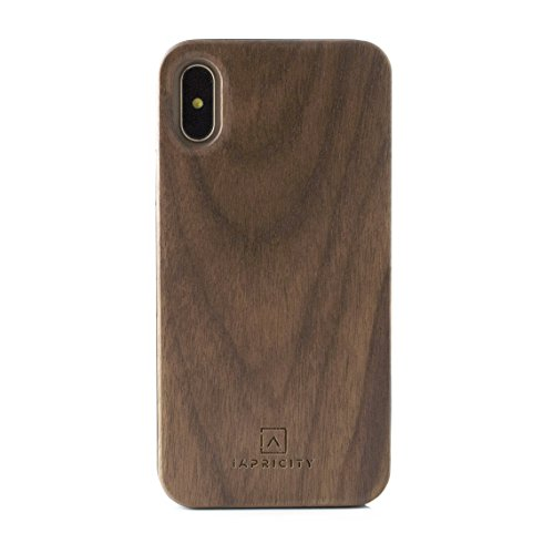 Walnut Drop - iPhone X/10 Wood Case - iApricity Premium Real WOOD Case - Unique, Stylish & Eco-Friendly Snap-On Back Case with Shockproof Drop Proof Bumper Protection that Perfectly Fits iPhone X/10 (Walnut)