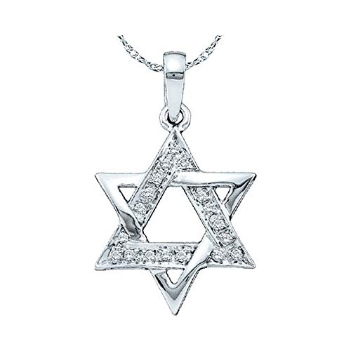 10kt White Gold Womens Round Diamond Star Magen David Jewish Pendant 1/10 Cttw