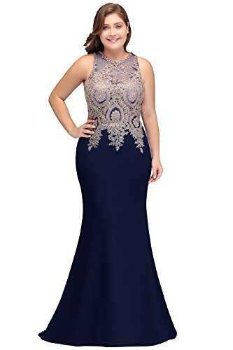 Womens Plus Size Mermaid Mother of The Bride Dress Navy Blue Size 20W