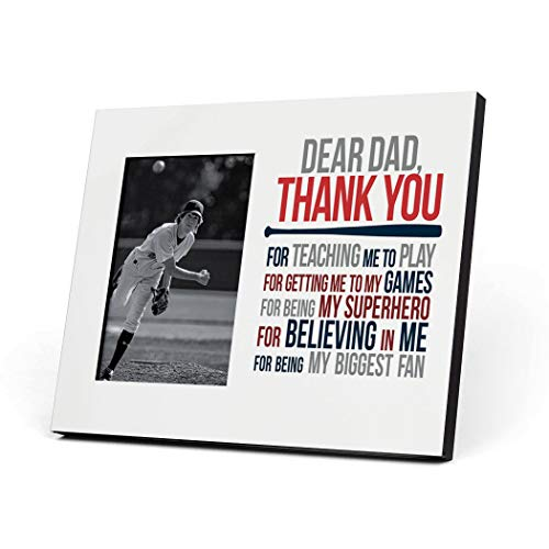 ChalkTalkSPORTS Baseball Photo Frame | Dear Dad Picture Frame | Red-Navy