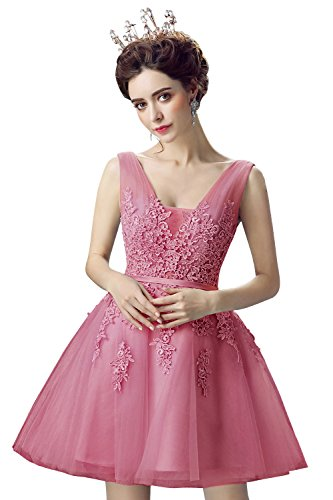 Babyonlinedress Women Lace Evening Cocktail Dresses Short Gala Ball Party Gown,Fuchsia,Size 8 ()