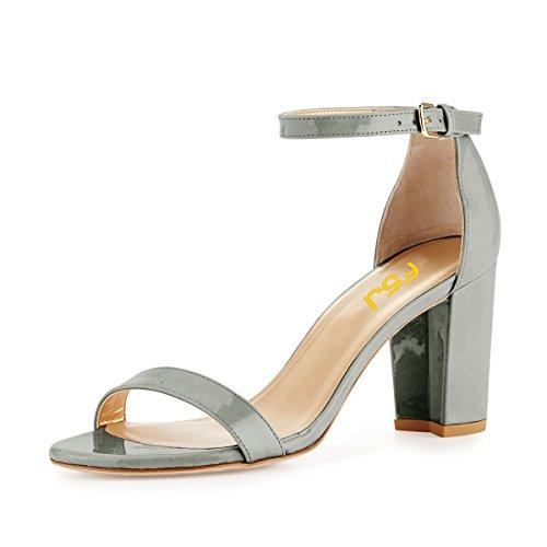 FSJ Toe Heels 4 Women US DOrsay Grey Ankle Basic Casual Open 15 Size Low Strap Sandals Chunky Shoes IIwqv