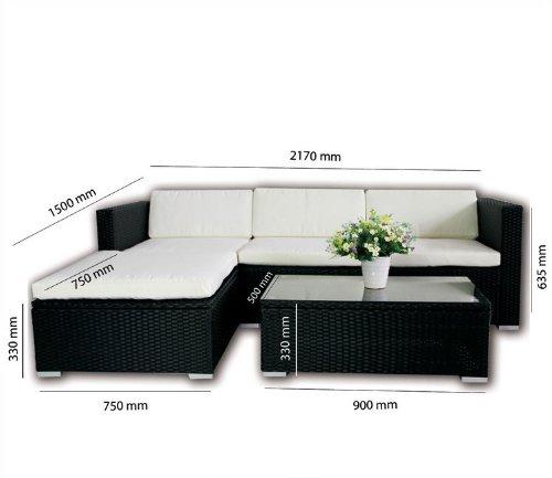 Rattan Lounge Schwarz