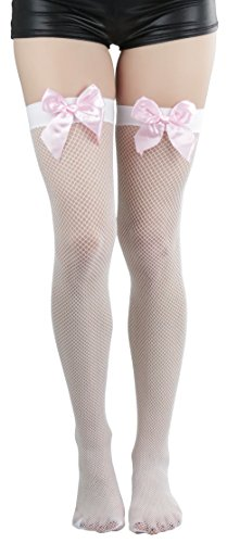ToBeInStyle Women's Fishnet Thigh High With Satin Bow Stockings Tights Hosiery - White With Baby Pink Bow - One Size: Regular