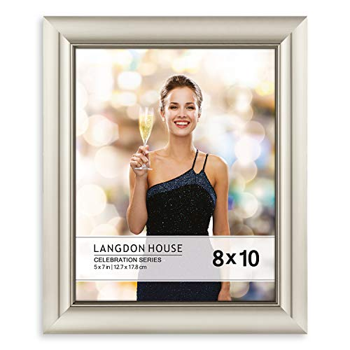Tabletop Champagne - Langdons 8x10 Picture Frame (1 Pack, Champagne), Photo Frame 8 x 10, Wall Mount or Table Top, Set Of 1 Celebration Collection