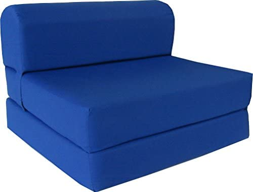 D D Futon Furniture Royal Blue Sleeper Chair Folding Foam Bed Sized 6″ Thick X 32″ Wide X 70″ Long