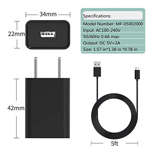 "Fire Tablet Charger-Dinines AC Adapter 2A Rapid Fast Charger with 5.0 Ft Micro-USB Cable for Kids Kindle Fire HD, HDX 6"" 7"" 8.9"" 9.7"", Fire 7 8 10 Tablet and Phone, Tab Power Supply Cord (Black 2)"