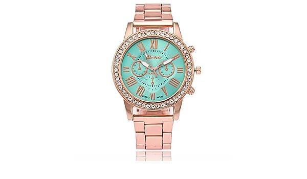 Fashion Watches Relojes Hermosos, Hombre Mujer Chino Cuarzo La Imitación de Diamante Reloj Casual Aleación Banda Moda Dorado (Color : Negro): Amazon.es: ...