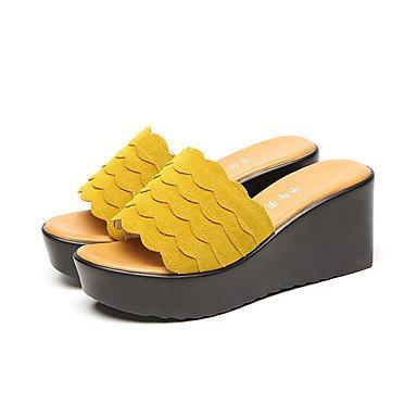 RTRY Women'Stacones Altos Comfort Slippersummer Oficina Informal &Amp; Carrera Comodidad Talón De Cuña Verde Amarillo Negro De 2A-2 3/4 Pulg. US5.5 / EU36 / UK3.5 / CN35