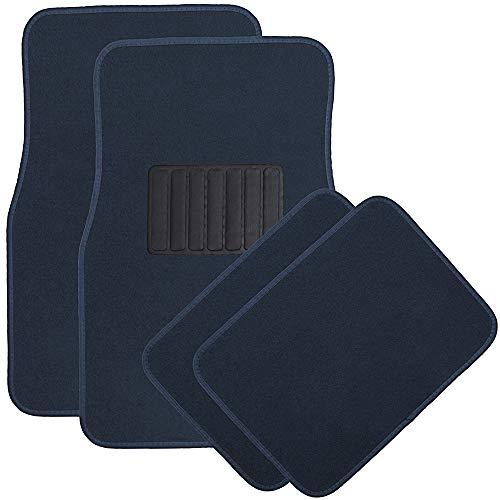 OxGord 4pc Full Set Carpet Floor Mats, Universal Fit Mat for Car, SUV, Van Trucks - Front Rear, Driver Passenger Seat Navy ()
