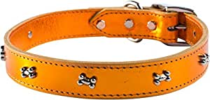 OmniPet Signature Leather Dog Collar with Bone Ornaments, Metallic Apricot, 16""