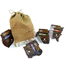 Beef Jerky Gift Bag - REGULAR SIZE - 4 Bags of World Famous, Small Batch Beef Jerky - 4 Best Selling Flavors in an Old Fashioned, Branded, Burlap Bag - 12 total oz.