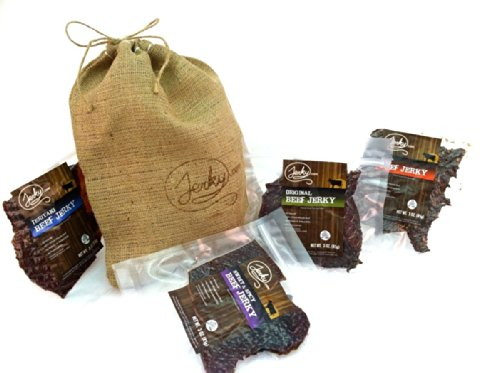 Beef Jerky Gift Bag - REGULAR SIZE - 4 Bags of World Famous, Small Batch Beef Jerky - 4 Best Selling Flavors in an Old Fashioned, Branded, Burlap Bag - 12 total oz. (Famous Baskets)