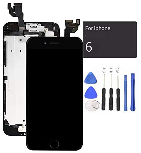 passionTR Black LCD Screen Replacement for iPhone 6 4.7 Inch with Camera Home Button Ear Speaker Proximity Sensor Full Complete Assembly Digitizer Display with Repair Tool kit
