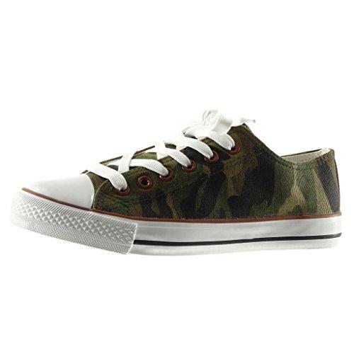 Angkorly - Chaussure Mode Baskets femme camouflage Talon plat 2.5 CM - Vert